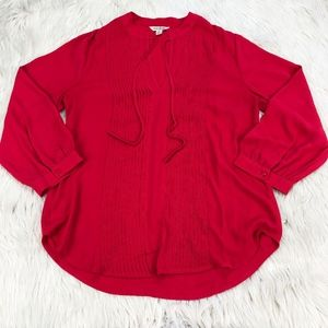 Lucky Brand Pin-tuck Tie Neck Blouse